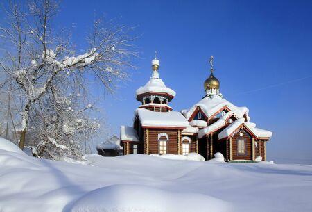 Orthodox St. Tikhon Church in the village of Baikit in the Evenki district of the Krasnoyarsk Territory. Russia