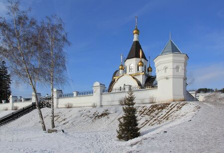 The Holy Assumption Monastery of the Krasnoyarsk Diocese of the Russian Orthodox Church, located in the village of Udachny in the city of Krasnoyarsk on the banks of the Yenisei River.