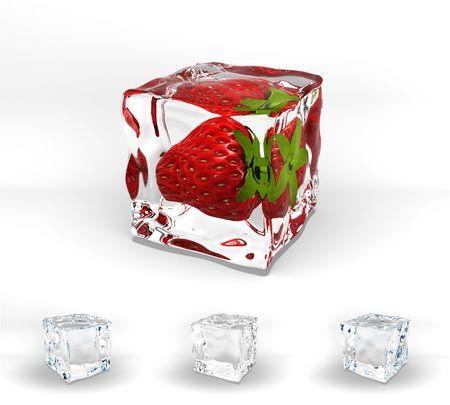 frozen solid: Strawberry frozen in ice cube