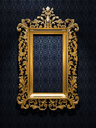 wood carving 3d: Retro Revival Old Gold Frame