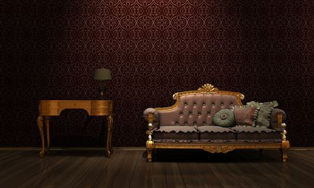 interior grunge room with classic sofa Stock Photo