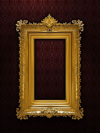 plated: Gold plated and richly decorated frame on a wall