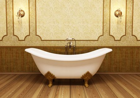 Beautiful retro bathroom in eclectic style photo