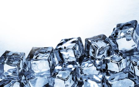 melting ice: Side view of ice cubes Stock Photo