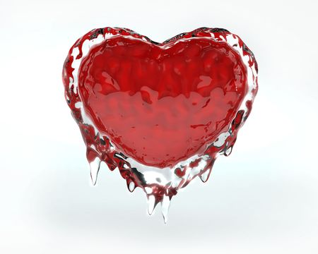 Red hot red heart in cold ice photo
