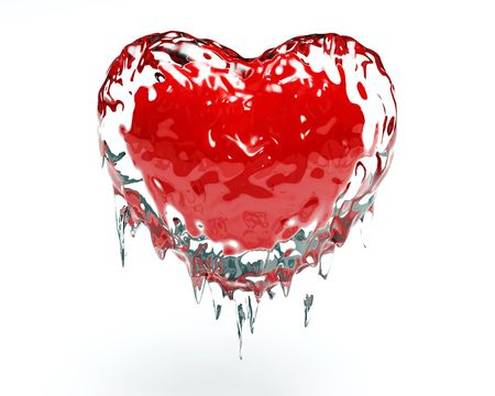 Red hot red heart in cold ice Stock Photo