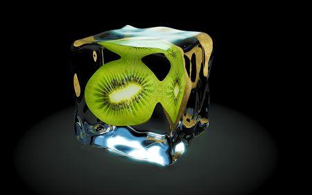 kiwi frozen in ice cubes photo