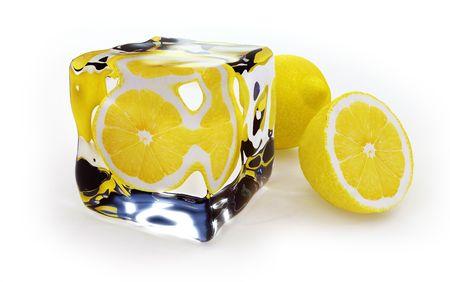 Lemon Frozen In Ice Cube Stock Photo