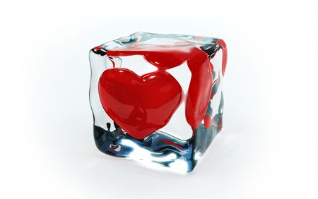 frozen solid: Red hot red heart in cold ice