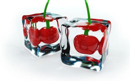 cherries frozen in ice cubes photo