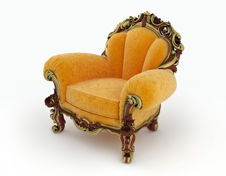 antique chair: Isolated view of an antique chair 3D render Stock Photo