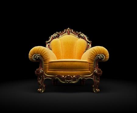 Stuhl: Altmodische Chair on black Background 3D render Lizenzfreie Bilder