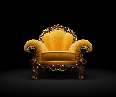 Old-fashioned chair on black background 3D render Zdjęcie Seryjne