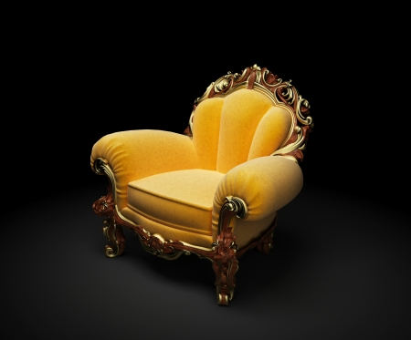 Old-fashioned chair on black background 3D render Stock Photo - 8434943