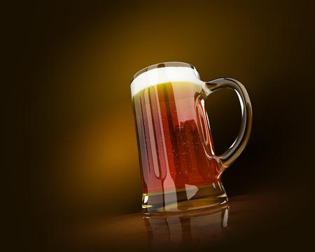 vasos de cerveza: Una fría taza de cerveza con espuma Foto de archivo