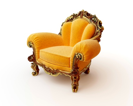 Isolated view of an antique chair 3D render Stock Photo - 8472903