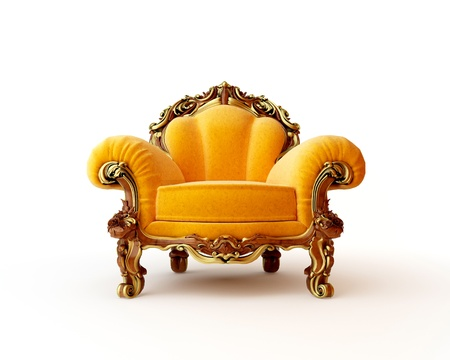 Isolated view of an antique chair 3D render Stock Photo