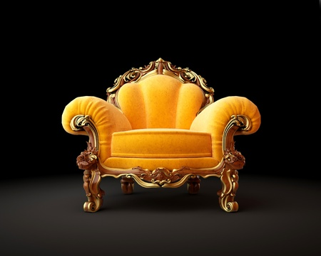 throne: Old-fashioned chair on black background 3D render Stock Photo