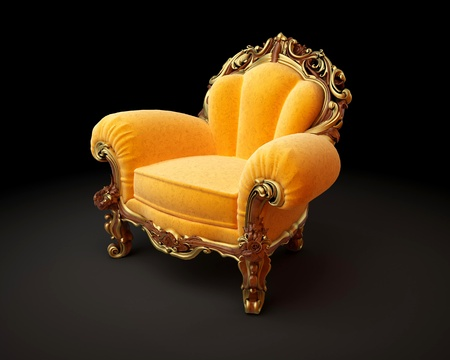 antique chair: Old-fashioned chair on black background 3D render Stock Photo