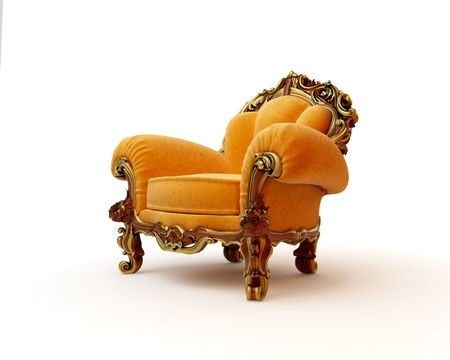 Isolated view of an antique chair 3D render Stock Photo - 8472909