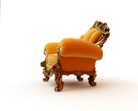 Isolated view of an antique chair 3D render Stock Photo - 8472907
