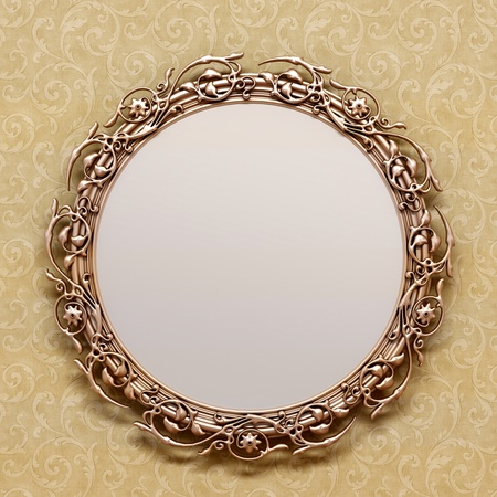 ornate gold frame: bronze antique frame on the wall