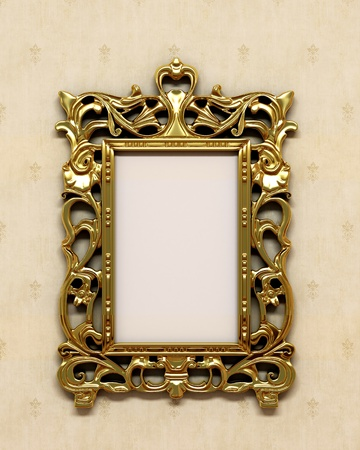 Gold antique frame on the wall photo