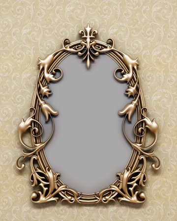 wood carving 3d: bronze antique frame on the wall