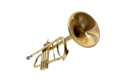 A brass colored trumpet on white background Stock Photo - 9509033
