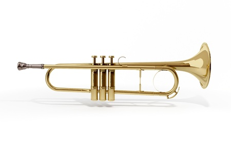 A brass colored trumpet on white background Stock Photo - 9509043