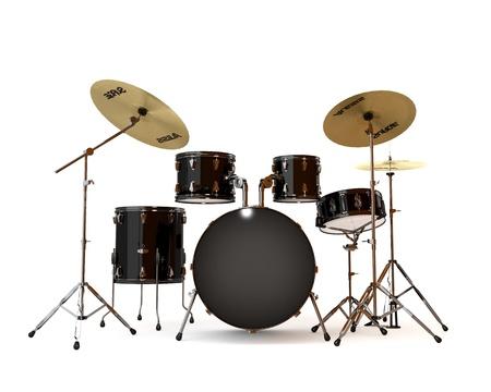 drums: Bater�a negro con un fondo blanco Foto de archivo