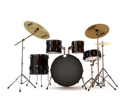 drums: Black drums with a white background