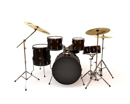 drum kit: Black drums with a white background