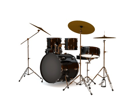 percussion: Black drums with a white background