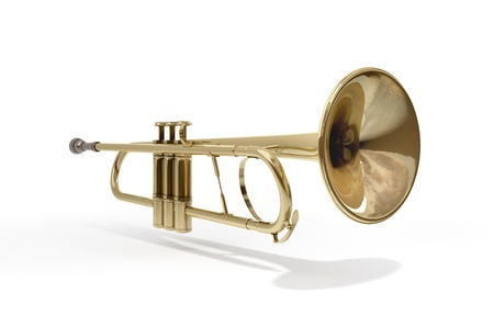 A brass colored trumpet on white background Stock Photo - 9509034