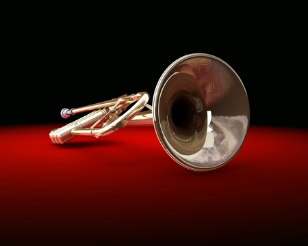 trompeta: Una trompeta color bronce sobre fondo oscuro Foto de archivo