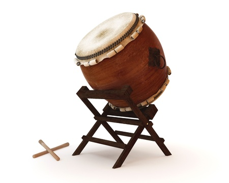 drum sticks: Taiko drums are traditional Japanese drums Stock Photo