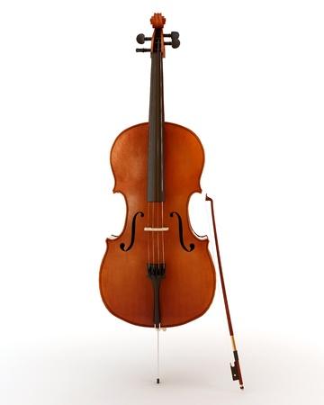 Hermosa violonchelo de madera aislada sobre fondo blanco