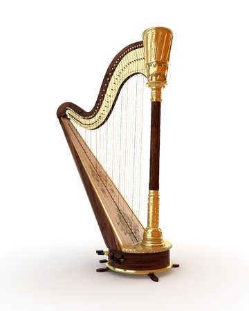 stringed instrument: Classical musical instrument harp on a white background