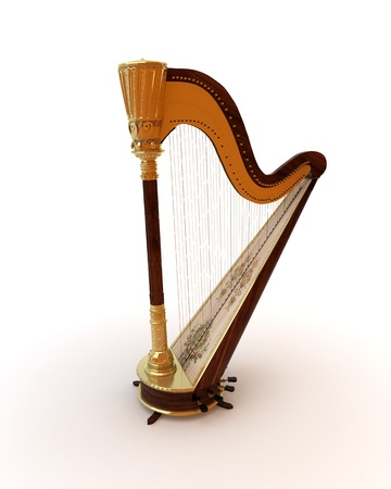 harp: Classical musical instrument harp on a white background