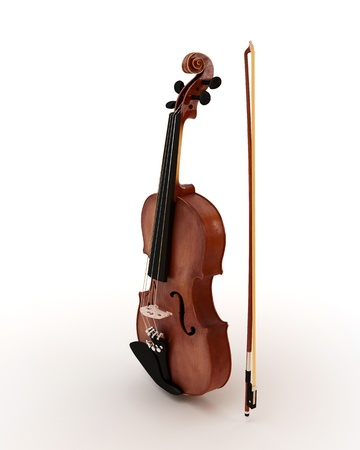 Classic violin isolated on white photo