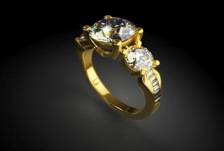 gemstone jewelry: Gold ring with diamonds on a black background