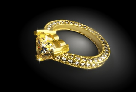 vows: Gold ring with diamonds on a black background