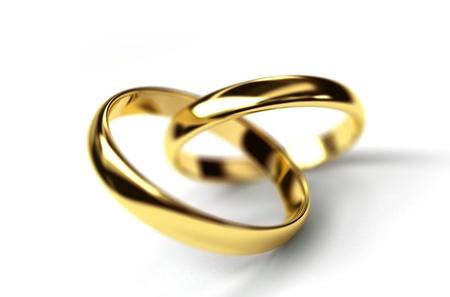 wedding ring on a white
