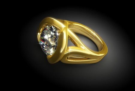 wed: Gold ring with diamonds on a black background