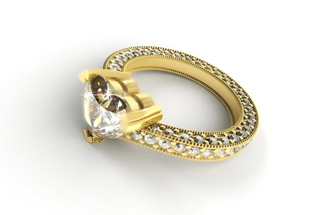 Gold ring with diamonds on a black background photo