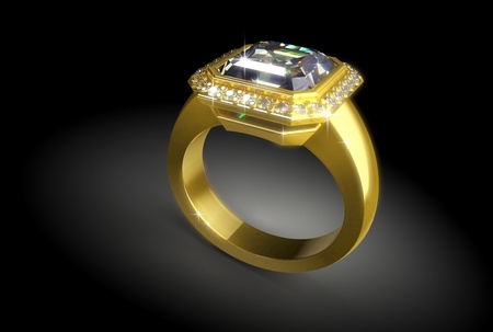 wed: gold ring with a diamond on a black background Stock Photo