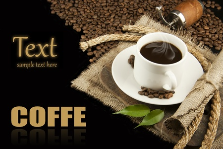 coffees: a cup of hot coffee