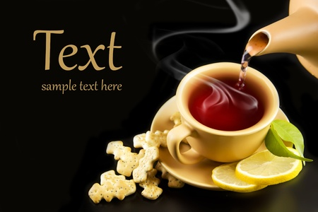 A cup of tea with lemon and crackers Stock Photo - 11972913