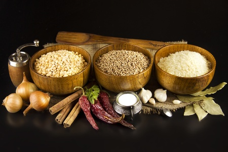 buckwheat: Ingredients for cooking on a black background